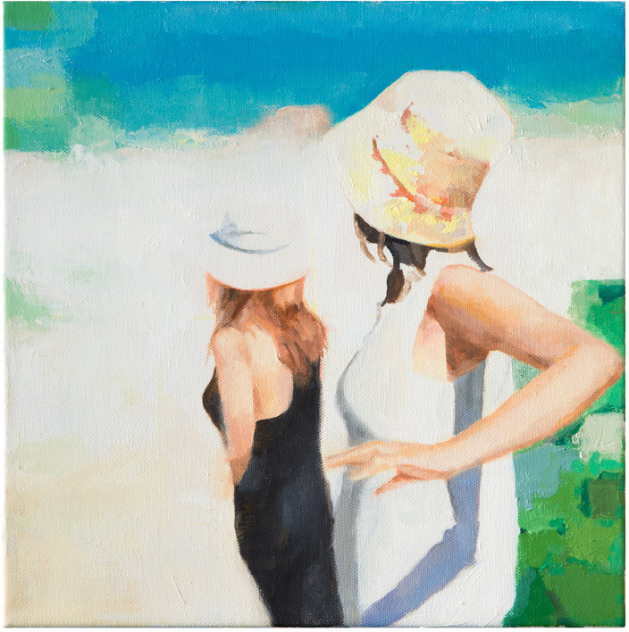 "Summer Hats, 12"" x 12"" Oil on Canvas"