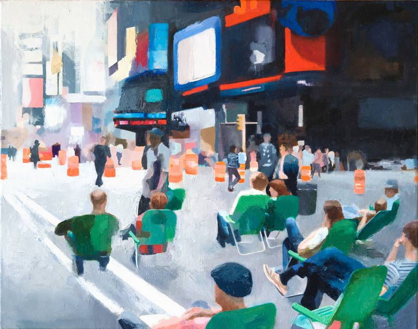 "Time Square, 30"" x 24"" Oil on Canvas"